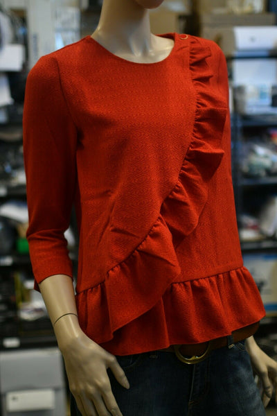 NWT Sezane Jerry Top Rogue Red Silk Shirt Blouse Size 2