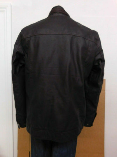 NWT Buckle Black Distressed Brown Leather Bomber Jacket Mens Large Fur Lined