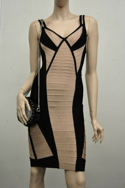 Herve Leger Nude Black Bandage Small Dress Form Fitting Short