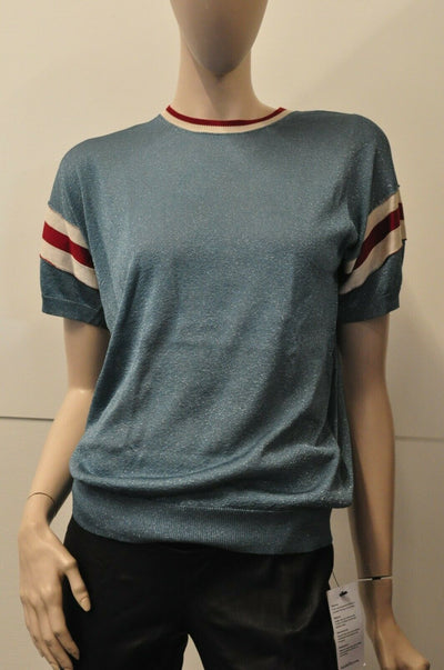 NWT Golden Goose Deluxe Claudine Striped Metallic Blue Top Small