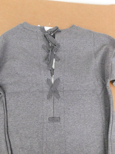 NWT $75 Fabletics Nina Lace Back Gray Slouch Yoga Sweatshirt Medium Gym Running