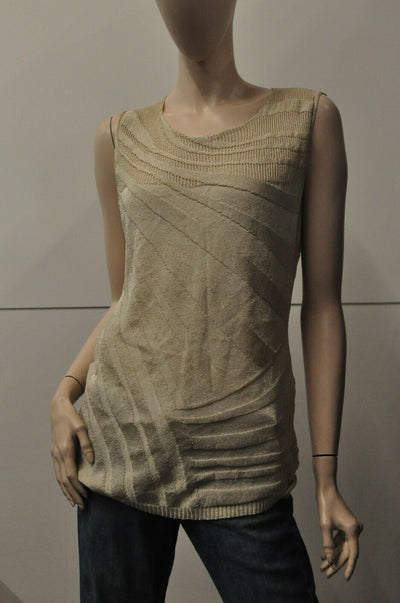 NWT Escada Sarasota Sleeveless Gold Medium Top Blouse Womens