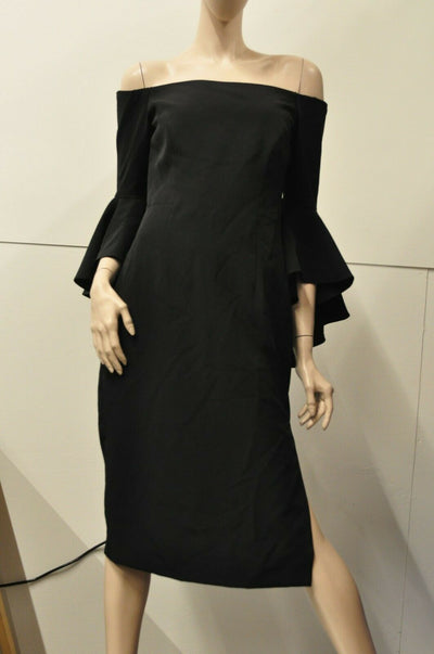 NWT $485 Milly Italian Selena Slit Dress Black 6 Off Shoulder Party Mini