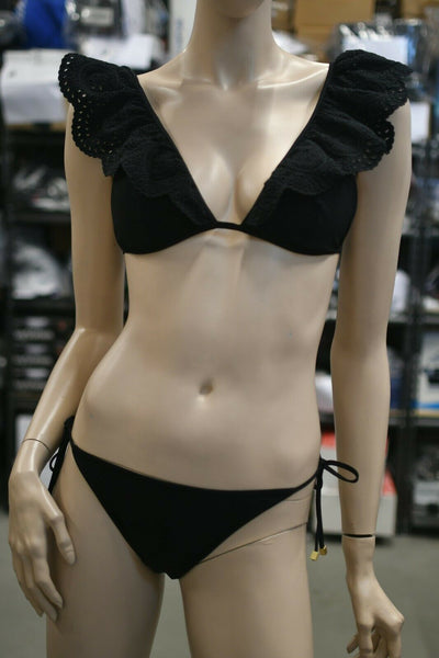 NWT $315 Zimmermann Medium Swim Resort Meridian Embroidered Bikini Black 6-8