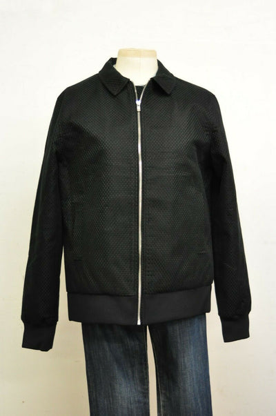NWOT Matiere Bomber Jacket Jet Black Checkered XL Cotton Mens