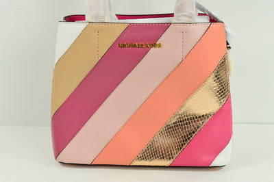 NWT $368 Michael Kors Adele CrossOver Medium Messenger Bag Purse Pink Stripe Leather