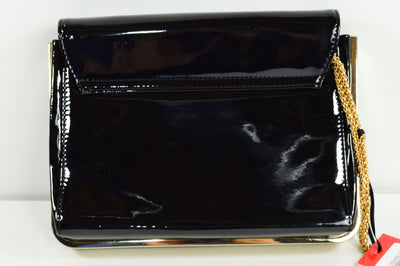 NWT Valentino Seattle Black Gold Patent Leather Cross Over Bag Purse