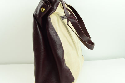 NWT Levenger Shoulder Bag Tote Purse Tan with Purple Leather 14x11x6.5