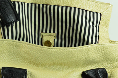 Kate Spade Shoulder Tote Carry Purse Cream Black 14x8x6 Leather