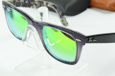RayBan Wayfarer Grey Black Green Gradient Flash RB2140 1199/4J Display Model
