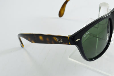 Ray-Ban Folding Wayfarer RB4105 Black Tortoise Green Lens Sunglasses Large