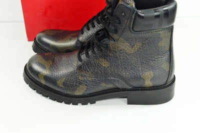 NIB Hugo Boss Explore Halb Green Leather Boots Mens US 9 Lace Up