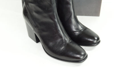 NIB Alberto Fermani Viva Black Leather Ankle Boots Booties EU 39.5 US 9.5