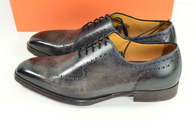 NIB DI Bianco SPQR Leather Wholecut Oxford 8.5 Gray Smoke Italy Mens
