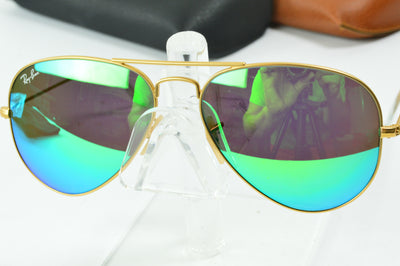 RayBan Aviator Matte Gold Green Flash RB3025 112/19 Display Model