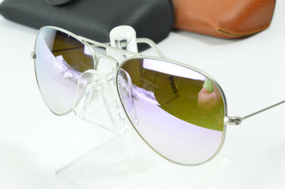 RayBan Aviator Silver Lilac Flash RB3025 019/7X Display Model