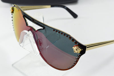 Versace Sunglasses Pale Gold Medusa Mirror Rainbow Lens VE2161B 1252/W6