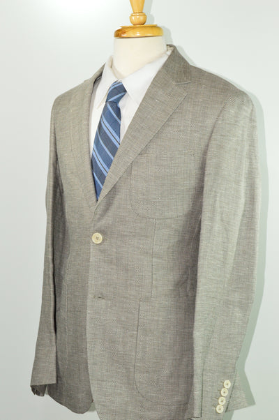 NWT $625 Faconnable Linen Wool Blend Sand Tan Patch Pocket Sport Coat 38R