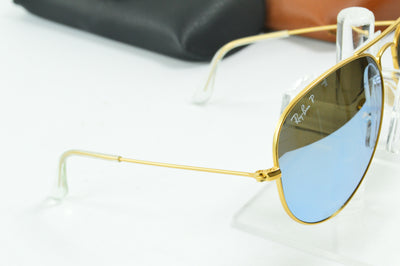 RayBan Aviator Matte Gold Mirror Polarized RB3025 112/W3 Display Model