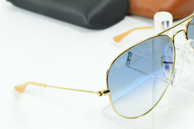 RayBan Aviator Gold Blue Gradient RB3025 001/3F Display Model