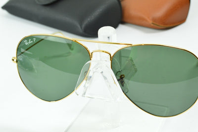 RayBan Aviator Gold Polarized Green RB3025 001/58 Display Model