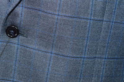 NWT Jos A Bank Reserve Gray Blue Windowpane Sport Coat Traditional Silk Wool Fit Imperial Blend