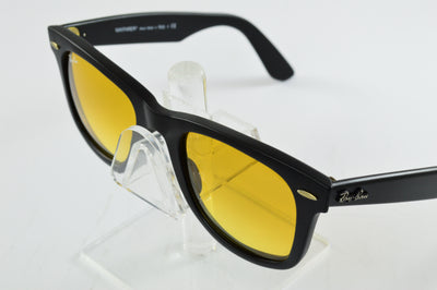 Ray-Ban Wayfarer RB2140 Matte Black Yellow Flash Lens Sunglasses