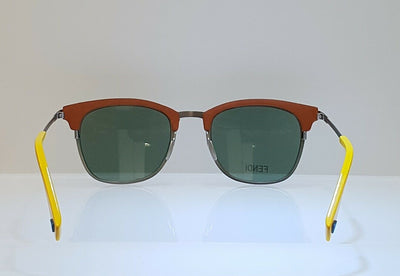 Fendi Brown Yellow Green Lens Sunglasses FF0228/S VGV Round