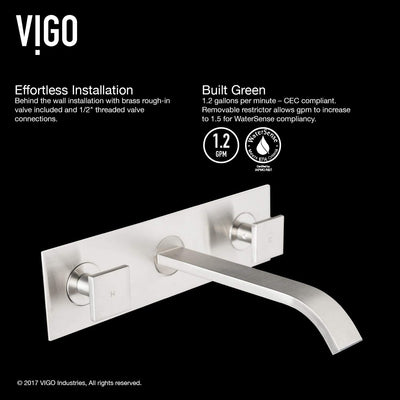 Vigo Titus Two Handle Wall Mount Faucet Brushed Nickel VG05002BN