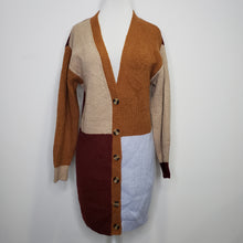 Load image into Gallery viewer, Ceny Colorblock Long Cardigan in Rust Size XS