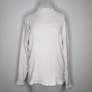 NIC+ZOE Flash Pointelle Detail Sweater in Paper White Size XL (NWT)