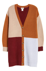 Ceny Colorblock Long Cardigan in Rust Size XS
