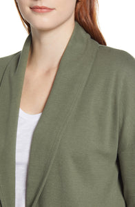 Caslon Textured Knit Jacket in Green Beetle Size M