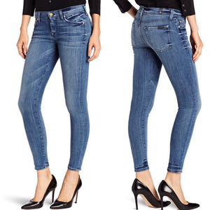 7 For All Mankind Women's Skinny Jean in Natural Water Blue Size 26
