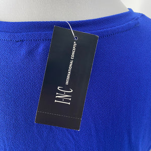 INC International Concepts Puff-Sleeve Top in Bright Blue Size S (NWT)