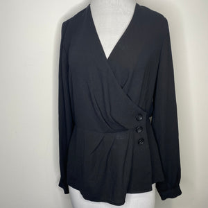 Halogen Button Detail Wrap Blouse Size XS
