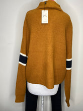 Load image into Gallery viewer, John & Jenn Varsity Stripe Mock Neck Pullover Sweater Size L (NWT)