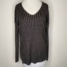 Load image into Gallery viewer, Vince Camuto Metallic Stripe V-Neck Sweater Size S (NWT)