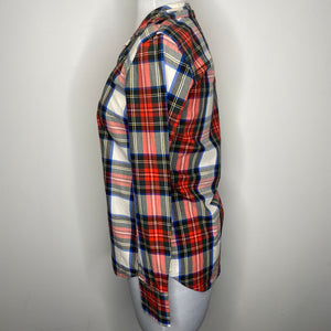 J. Crew Festive Plaid Button Down Shirt Size 00