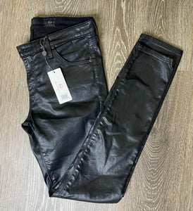 AG The Legging Ankle in Leatherette Super Black Size 28 (NWT)