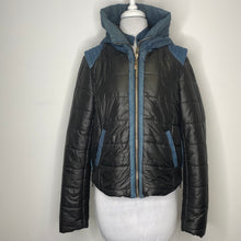Load image into Gallery viewer, Pookie & Sebastian Black Puffer Jacket with Denim Size L