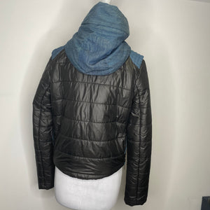 Pookie & Sebastian Black Puffer Jacket with Denim Size L