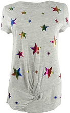 Load image into Gallery viewer, INC International Concepts Twisted Rainbow-Star T-Shirt Size S (NWT)