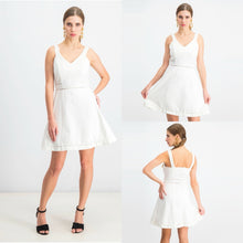 Load image into Gallery viewer, Bar III Crochet-Trim Fit & Flare Dress in Washed White Size L (NWT)