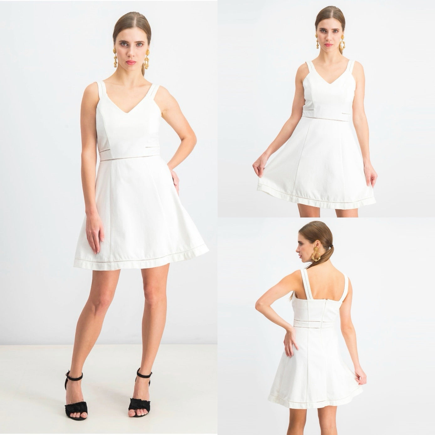 Bar III Crochet-Trim Fit & Flare Dress in Washed White Size L (NWT)