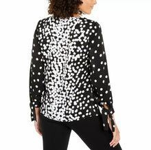 Load image into Gallery viewer, Alfani Spot-Print Ruched Tie-Sleeve Shirt Size M (NWT)