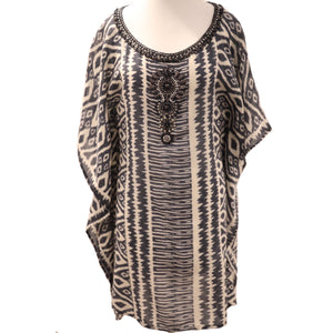 Bella Tu Printed Jeweled Tunic Caftan Size XS