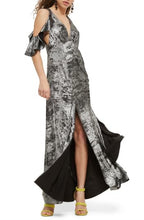 Load image into Gallery viewer, Topshop Cold Shoulder Foil Maxi Dress