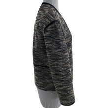 Load image into Gallery viewer, Lafayette 148 Dane Collarless Asymmetric Woven Jacket in Ink Multi Size S