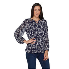 Load image into Gallery viewer, Laurie Felt Navy & White Chiffon LS Top with Criss Cross Detail Size M